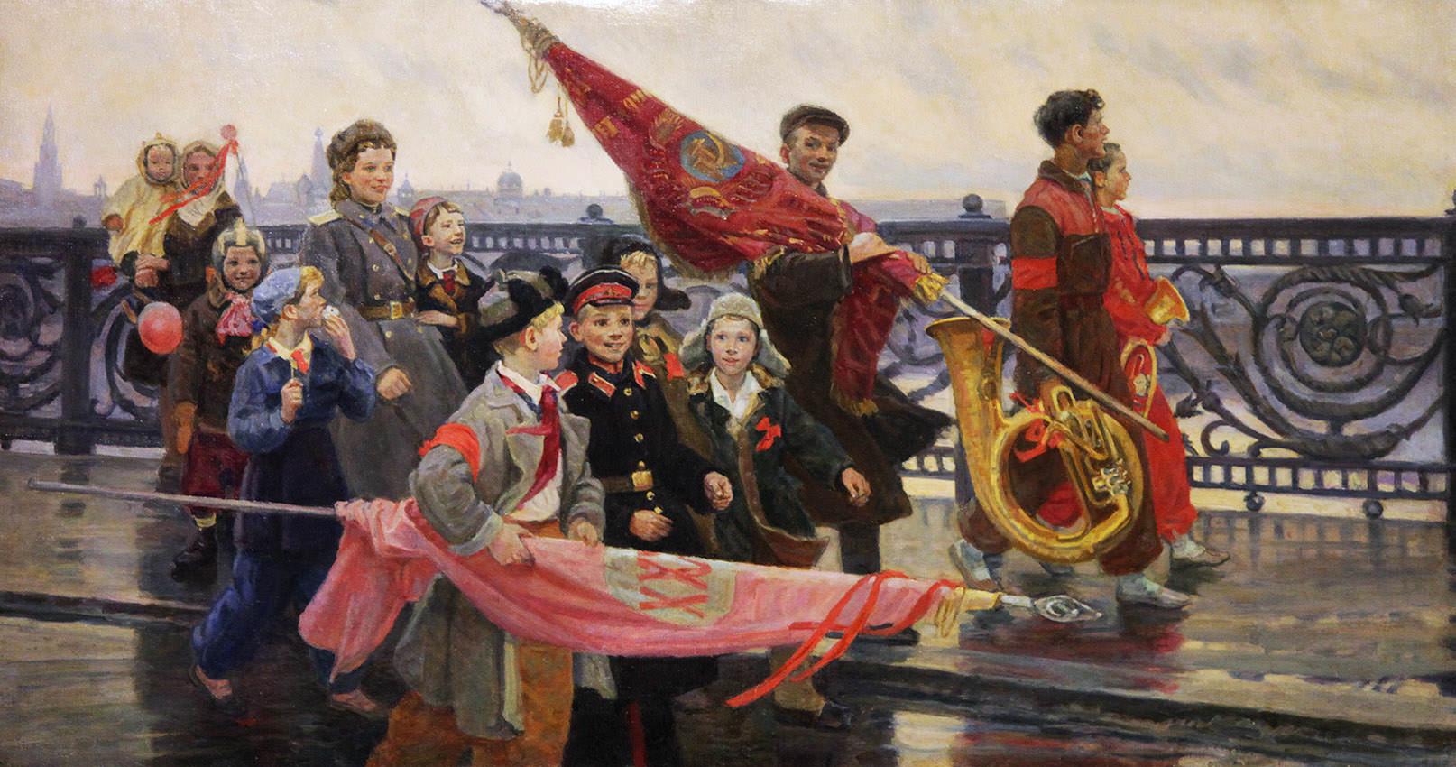Мочальский, Дмитрий Константинович 1908 - 1988. После демонстрации. Они видели Сталина. 1949. Государственная Третьяковская галерея, Москва
