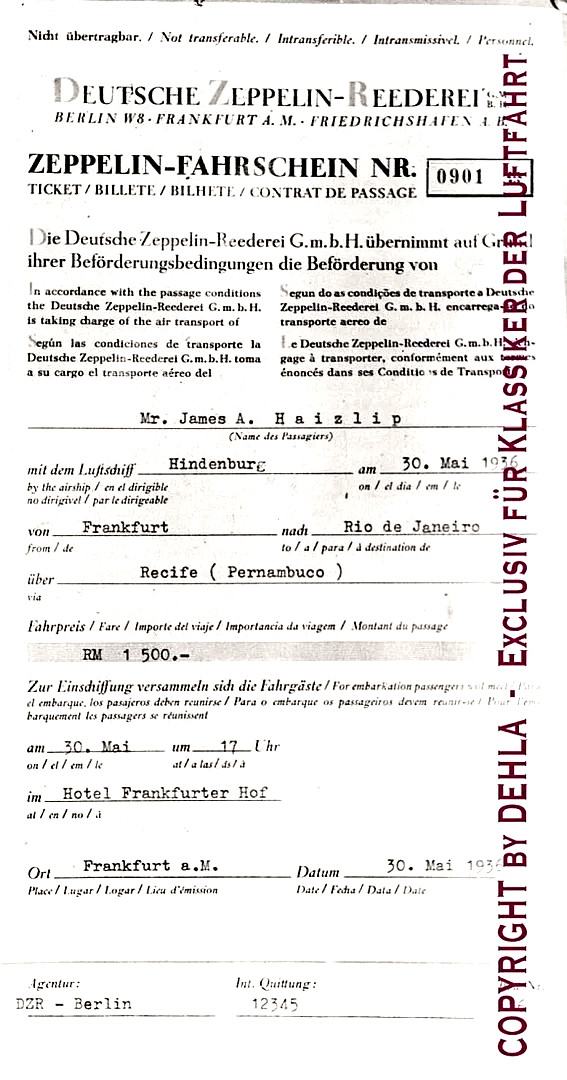 Билет на дирижабль Франкфурт - Рио де Жанейро