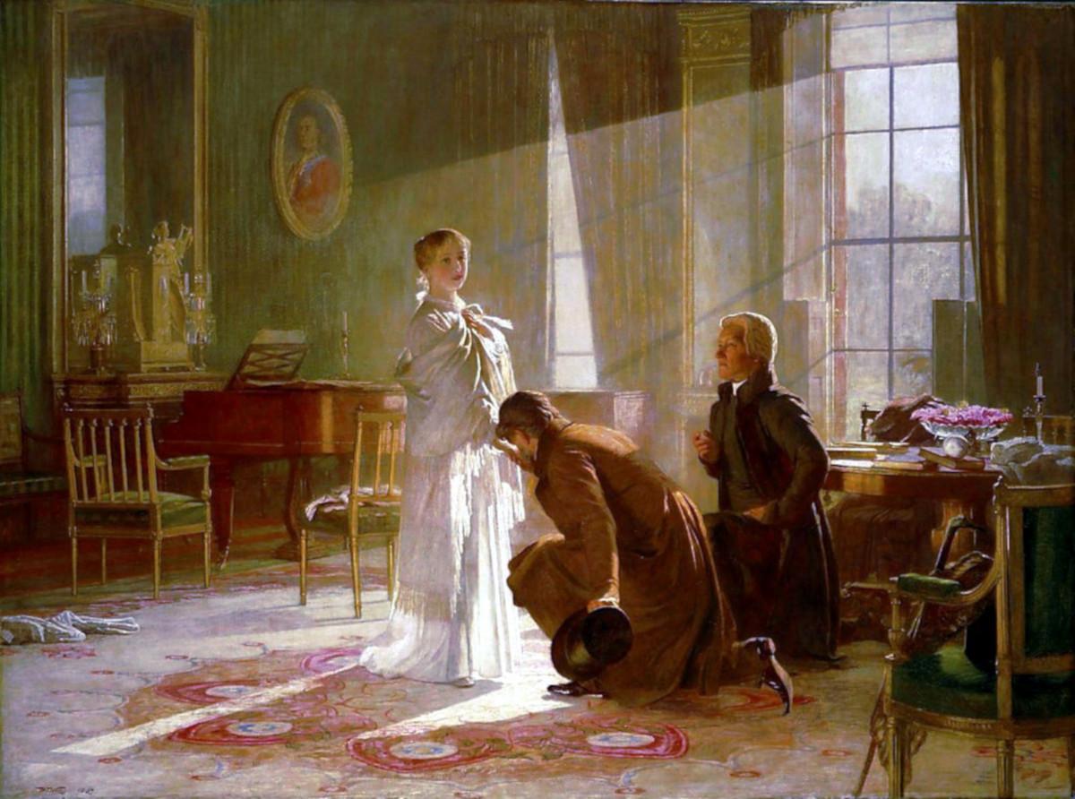 Виктория узнаёт, что она будет королевой от лорда Конингхема и Архиепископа Контерберийского художник Henry Tanworth Wells, 1887