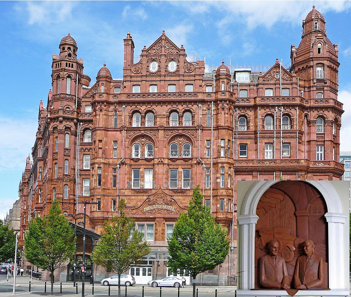 Место рождения Роллс-Ройса, отель «Мидленд» в Манчестере, где произошла встреча Роллса и Ройса. На врезке – мемориальное панно в лобби отеля, посвящённое этому знаменательному событию