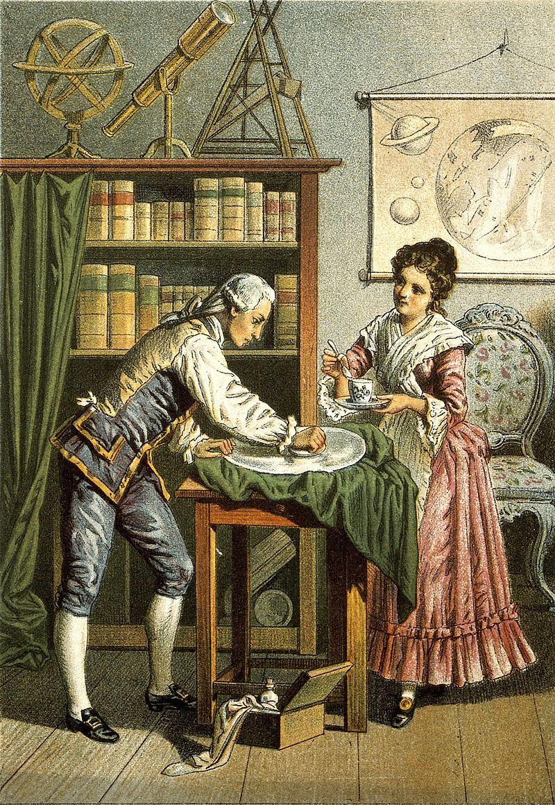 Уильям и Каролина Гершели. Литография 1896 года