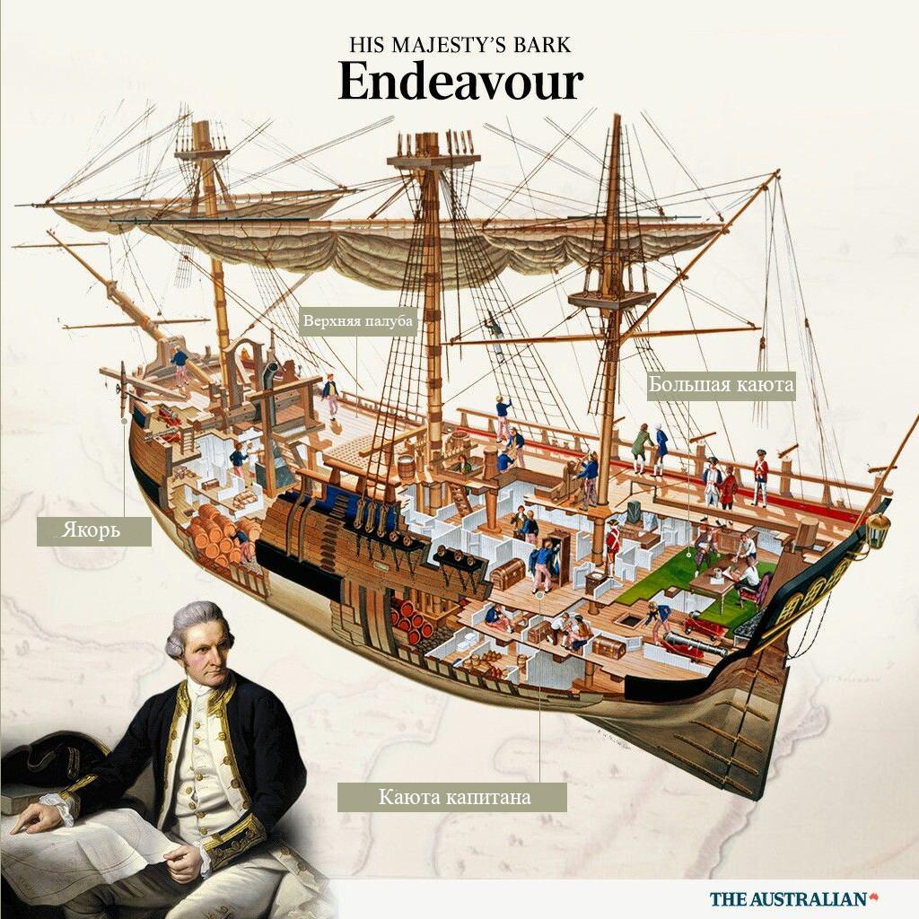 «Индевор», корабль Джеймса Кука, поперечное сечение