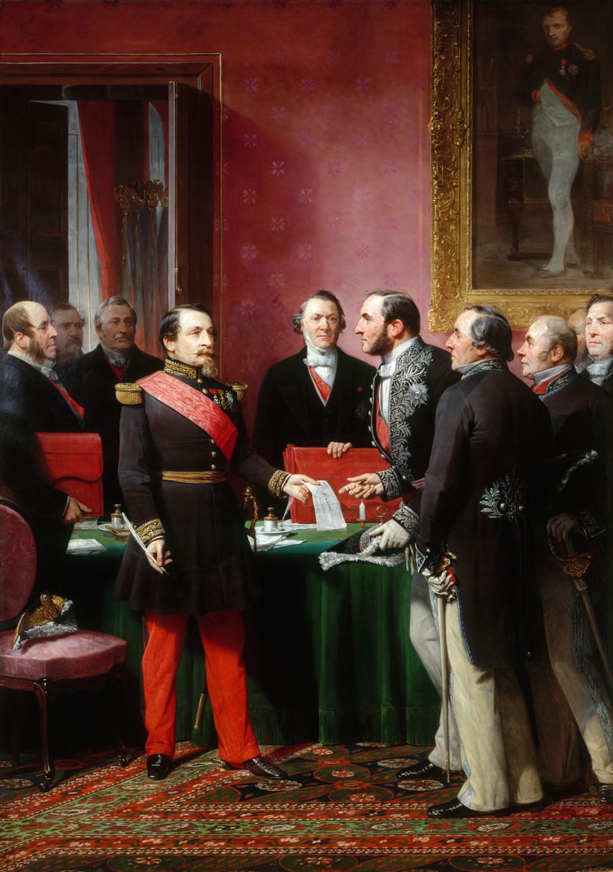 Осман получает указ Наполеона о расширении и перестройке Парижа –Художник Adolphe Yvon, 1865