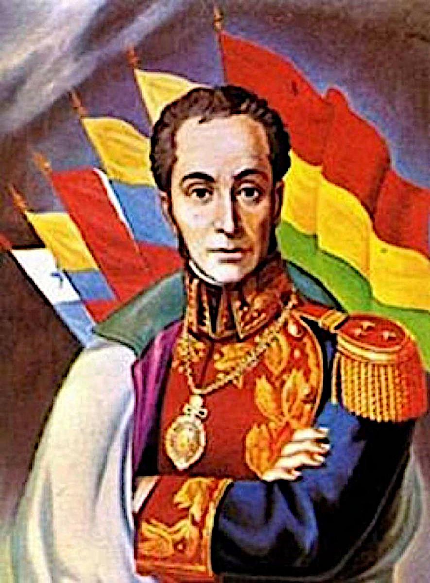 Симон Боливар в окружении флагов стран Латинской Америки